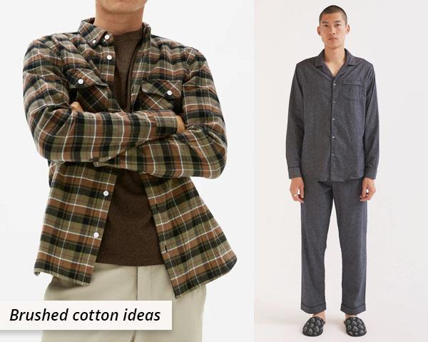 plaid brushed cotton shirt and grey pajamas