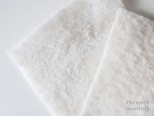 close up of fluffy white cotton batting / wadding