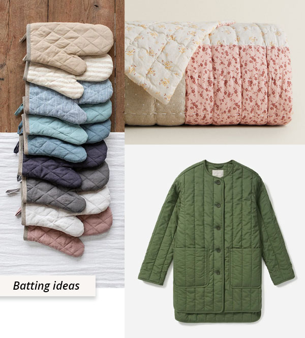 oven mitts, quilt, and quilted jacket