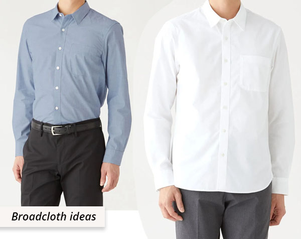 blue and white cotton broadcloth shirts