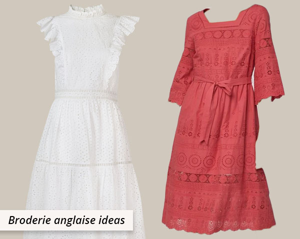 red and white cotton broderie anglaise dresses