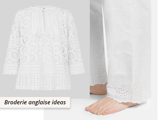 white broderie anglaise top and pajama pants