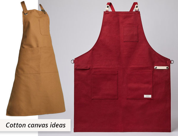 caramel and red cotton canvas aprons
