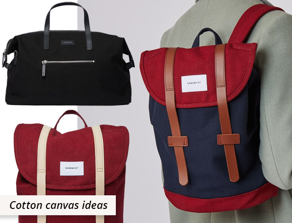 red, black and navy cotton canvas bags