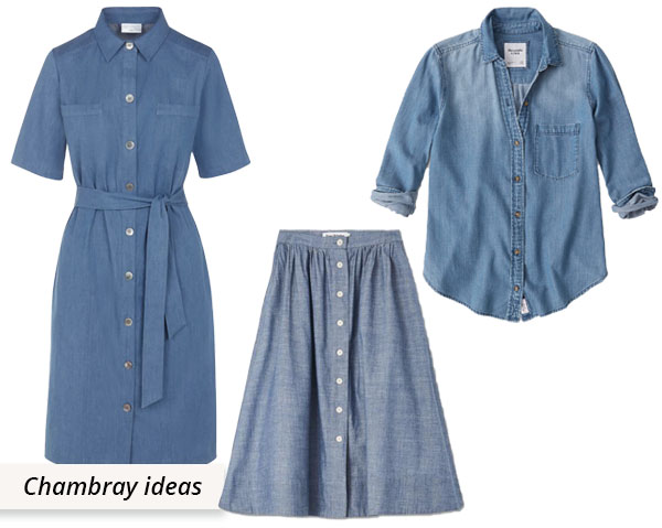 blue chambray dress, shirt and skirt sewing ideas
