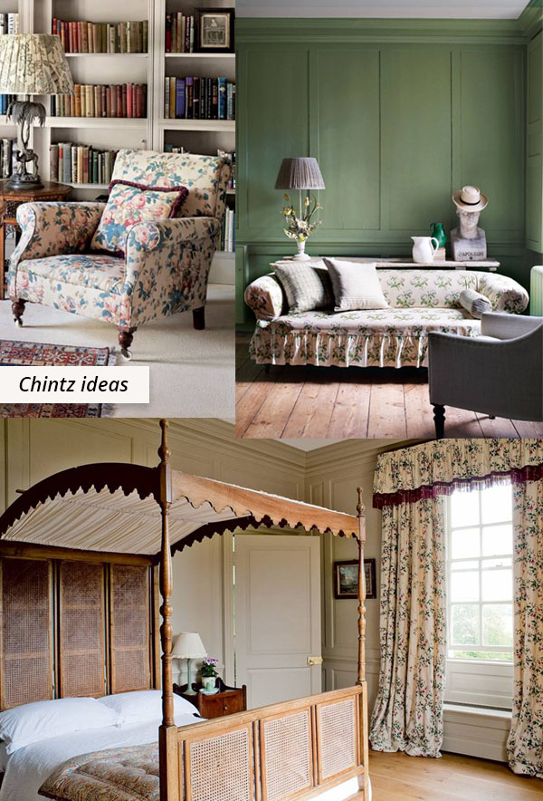 floral chintz chair, sofa, and curtains
