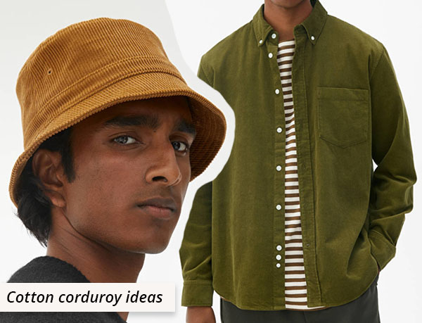 yellow cotton corduroy hat and green shirt.