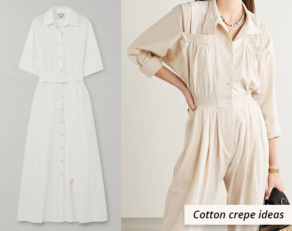 white cotton crepe dress and jumpsuit
