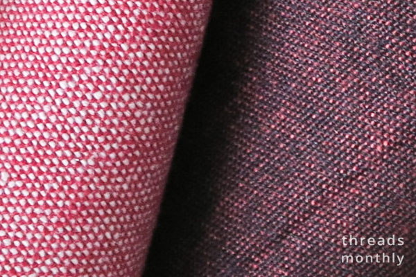 close up of cotton crossweave fabric threads