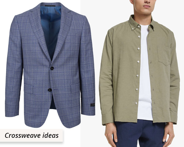 crossweave jacket and shirt
