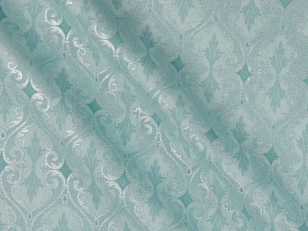 teal cotton damask fabric with a pattern