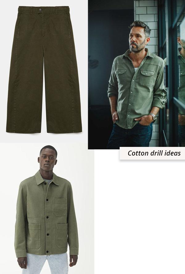 khaki green pants, shirt, and jacket made using drill fabric