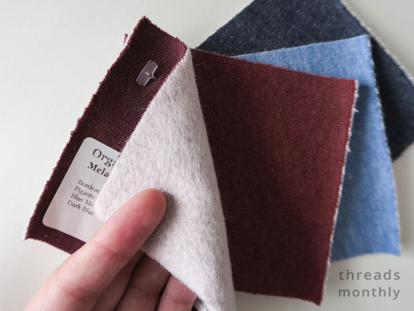 red and blue cotton fleece fabric samples
