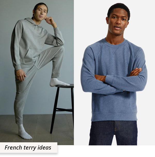 man wearing grey french terry hoodie and sweatpants, and man wearing blue sweatshirt.