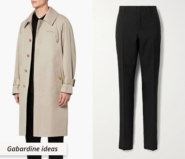 gabardine coat and trousers