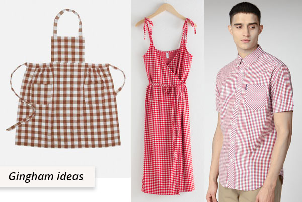 red cotton gingham shirt, dress, and apron