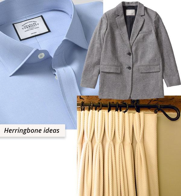 herringbone shirt, blazer, and curtain.