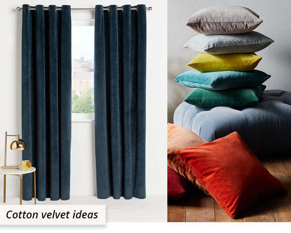 green velvet curtains and multi-colored cushions