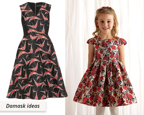 red damask dresses