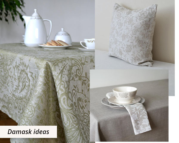 green and grey damask tablecloth, cushion and napkin.