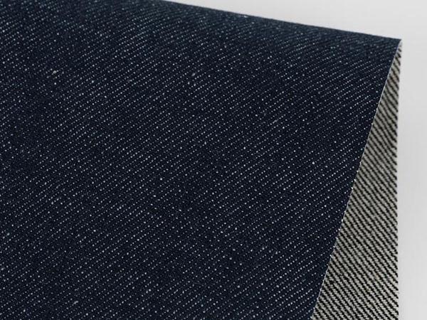 dark indigo denim fabric, front and back