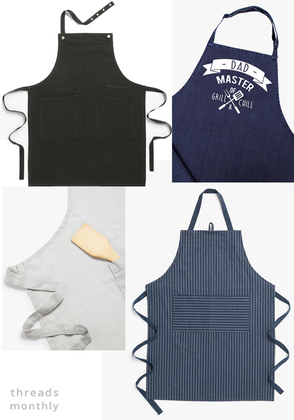 mens aprons in black, grey and navy.