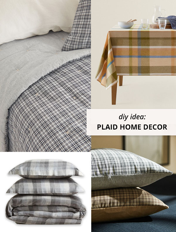 plaid cushions, bedding and tablecloth