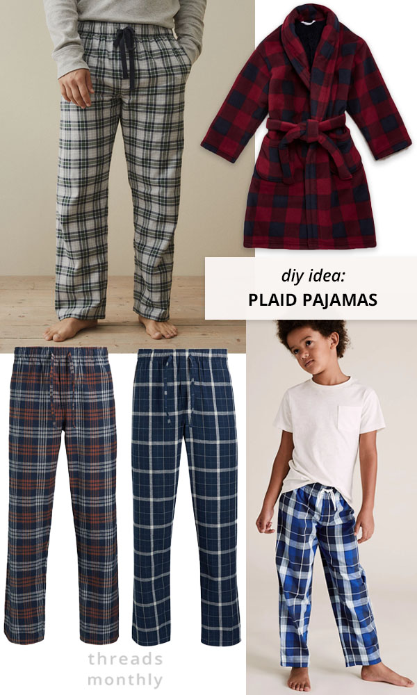 plaid and flannel pajamas worn by man and child