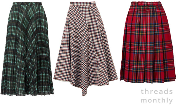pleated and long plaid skirts