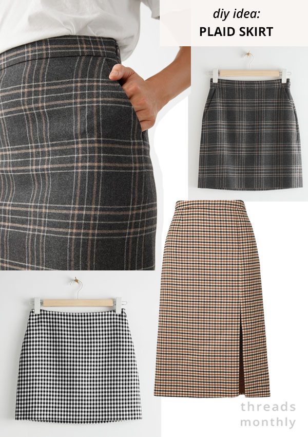 plaid mini and midi skirts