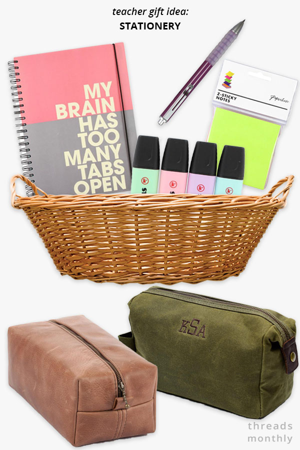 stationery in a hamper and zipper pouch gifts