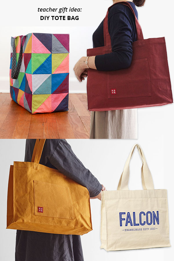 4 large, colorful tote bags with gussets