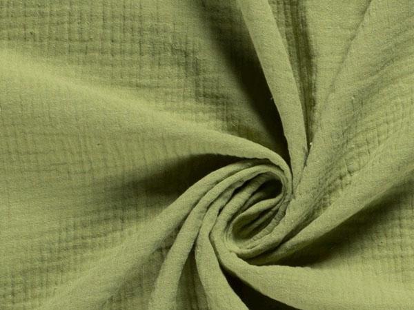 green cotton double gauze fabric