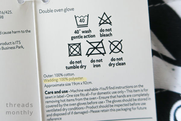 materials label for a double oven glove