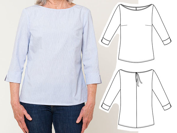 blue cotton top and free sewing pattern line drawings