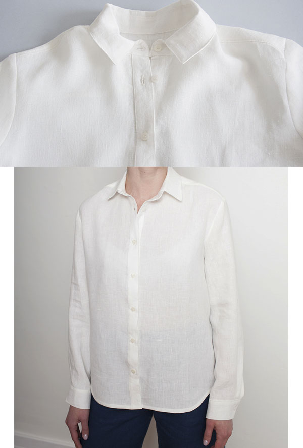 white button-up shirt with point collar worn by woman