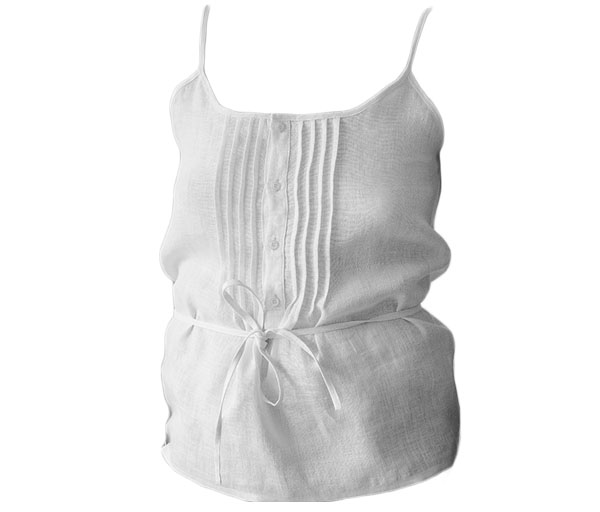 white camisole with pintucks and buttons