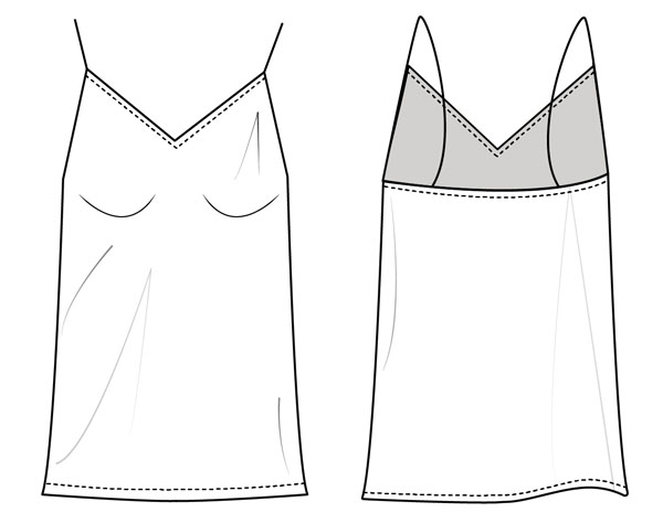 free sewing pattern line drawing of a cami (front and back view)