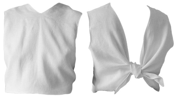 white crop top with wrap knot at the back