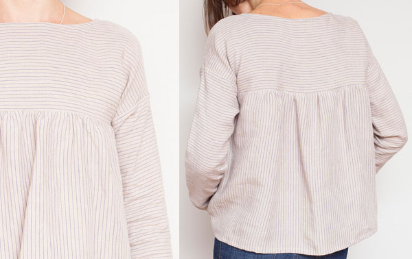 striped linen top with long sleeves and gathers