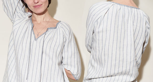 grey striped peasant blouse with gathers, raglan sleeve, and ties