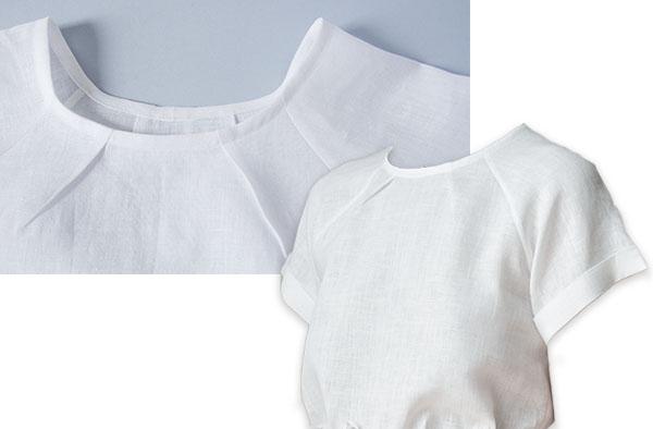 white linen raglan sleeve top for women