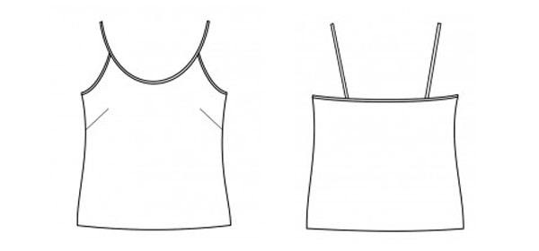 free camisole sewing pattern line drawing, front and back.