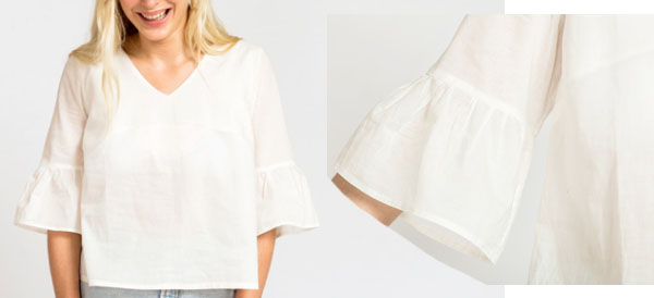 white cotton / linen top with ruffle sleeves