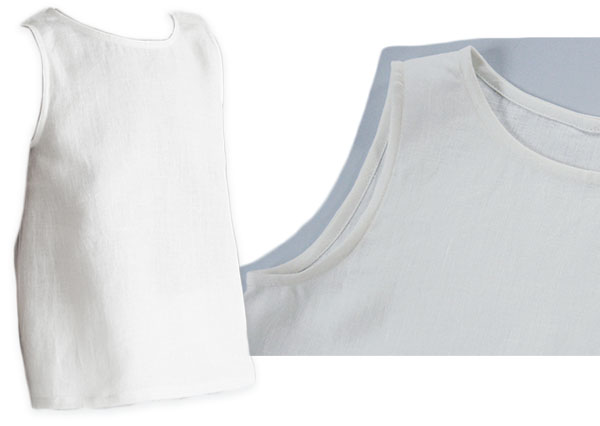 white linen crop tank top