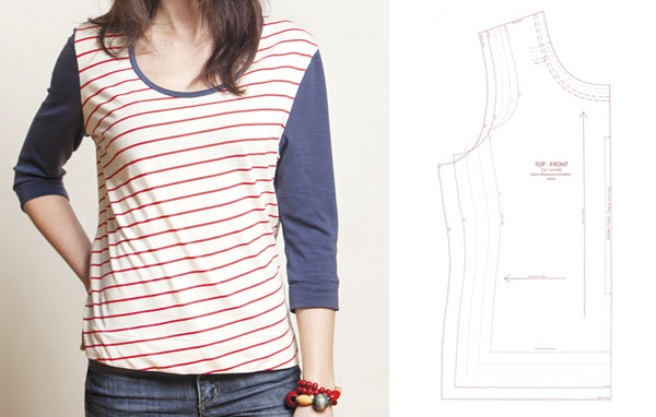 navy, red, write striped t-shirt with free sewing pattern line drawing