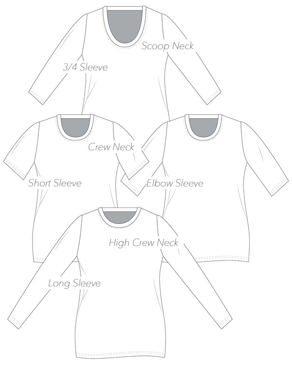 sewing pattern line drawings for 4 free t-shirt tops