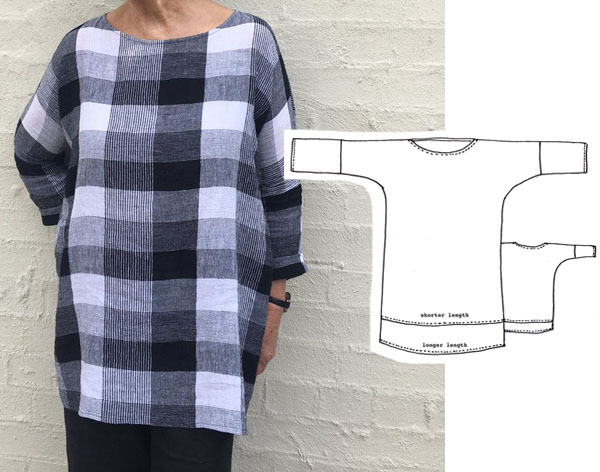 long sleeve tunic in black and white check print. Free sewing pattern line drawing on 1 side