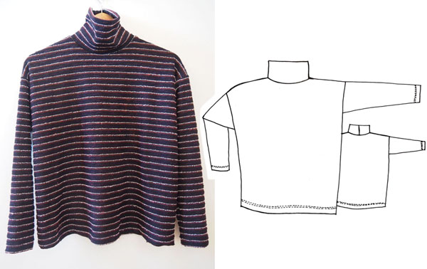 Striped turtleneck top with a sewing pattern line drawing