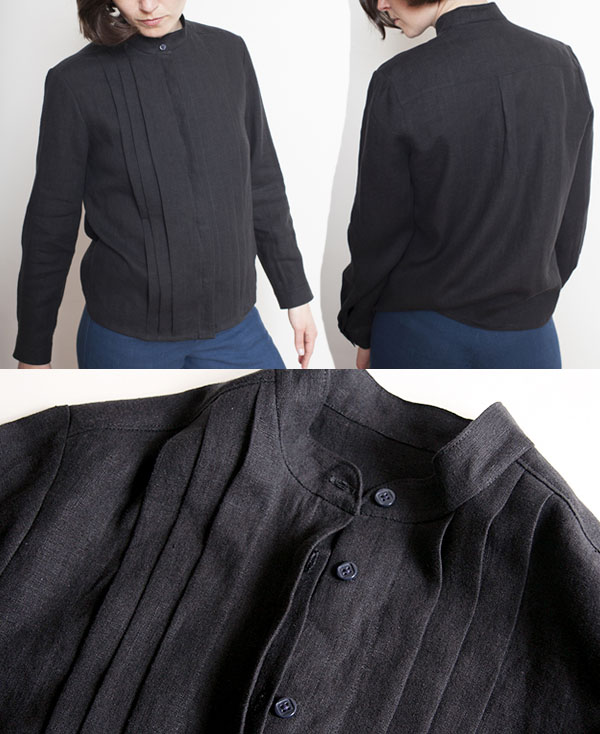 black linen shirt with buttons and pleats